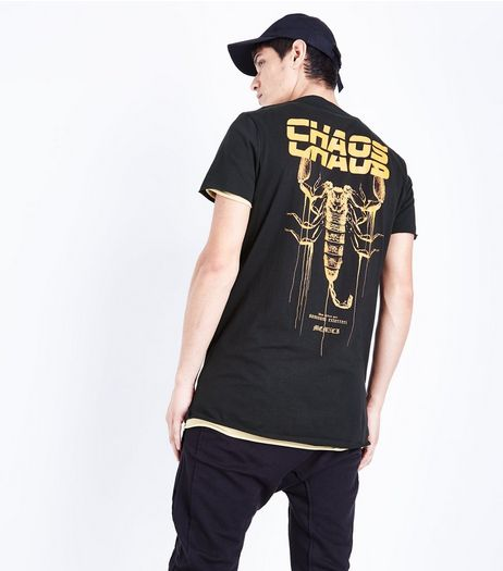 Black Chaos Back Print T-Shirt | New Look