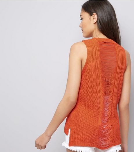 Orange Ripped Back Vest  | New Look