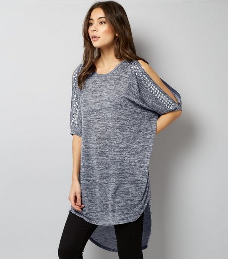 Blue Vanilla Navy Gem Studded Zip Cold Shoulder Top | New Look