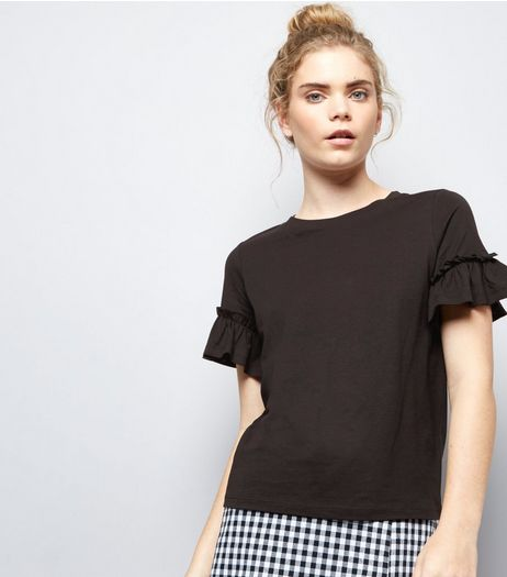 Black Frill Trim T-Shirt  | New Look