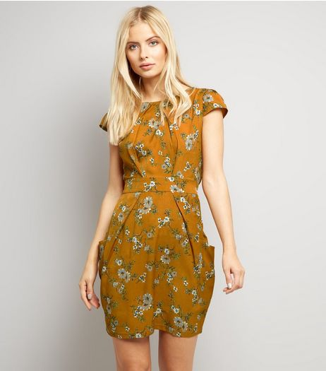 Blue Vanilla Navy Floral Print Tulip Dress | New Look