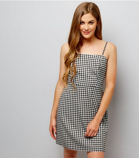 Black Gingham Check Slip Dress  | New Look