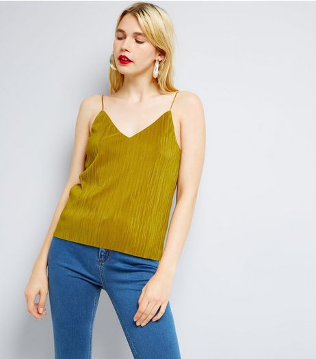 Green Pleated Cami Top  | New Look