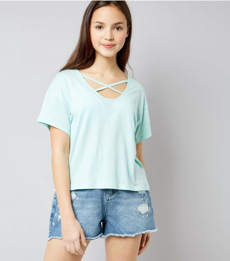 Teens Mint Green Cross Strap Front T-Shirt | New Look