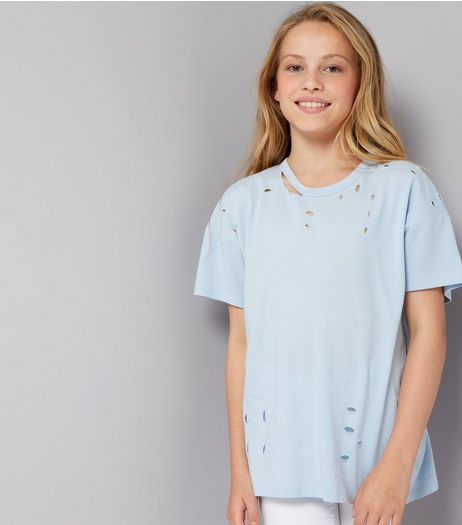 Teens Pale Blue Ripped Oversized T-Shirt | New Look