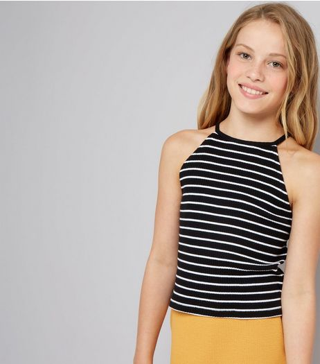 Teens Black Stripe Ribbed High Neck Cami | New Look