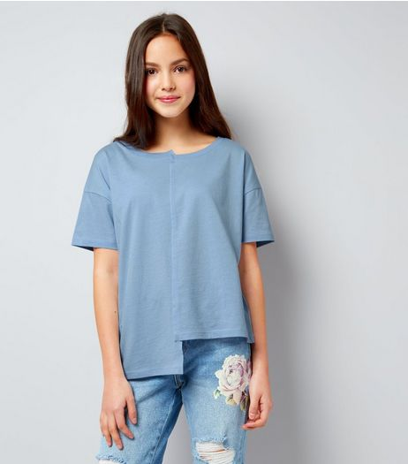Teens Pale Blue Asymmetric Spliced T-Shirt | New Look
