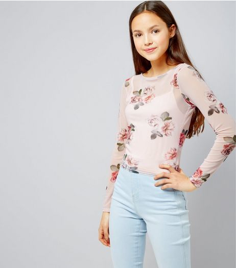 Teens Print Rose Print Long Sleeve Mesh Top | New Look