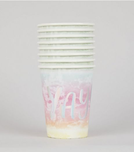 8 Pack Rainbow Watercolour Yay Paper Cups | New Look