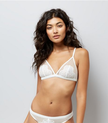Cream Bridal Lace Bralet  | New Look