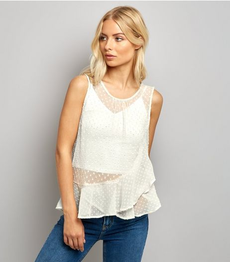 Tall Cream Spot Chiffon Frill Trim Top | New Look