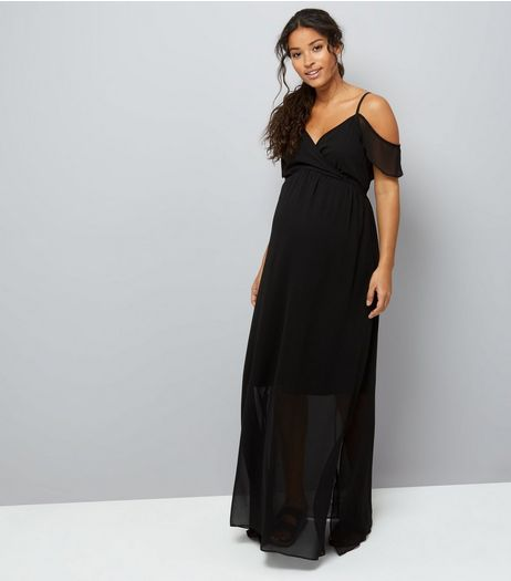 Maternity Black Cold Shoulder Maxi Dress | New Look