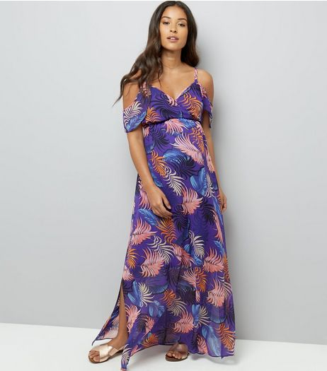 Maternity Purple Tropical Print Cold Shoulder Maxi Dress | New Look