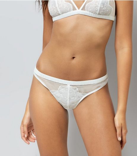 Cream Bridal Lace Trim Thong  | New Look