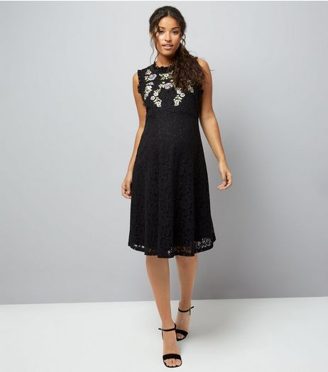 Maternity Black Embroidered Lace Skater Dress | New Look