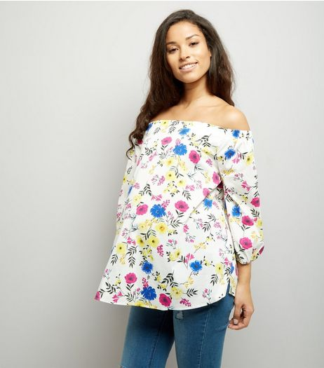 Maternity White Floral Print Bardot Neck Top | New Look