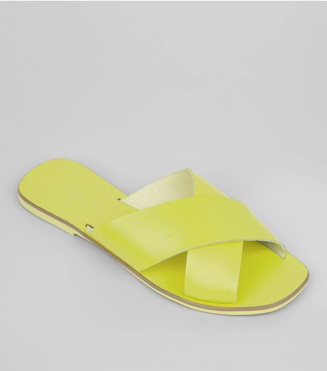Neon Green Leather Cross Strap Mules | New Look