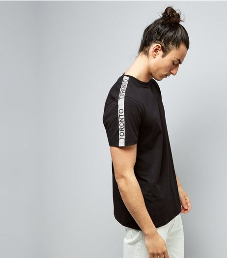 Black Toronto Tape Sleeve T-Shirt | New Look