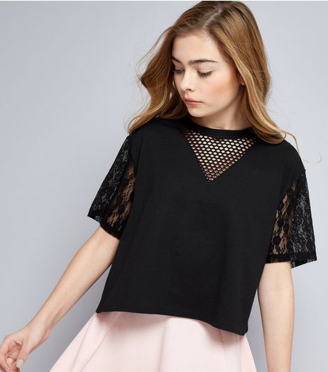 Teens Black Mesh and Lace Sleeve Crop Top | New Look