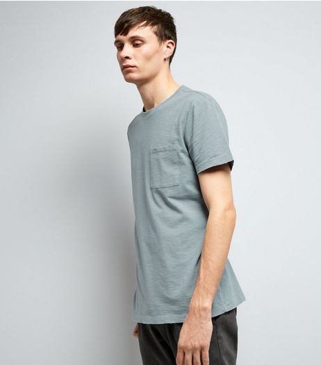 Pale Blue Distresed Pocket Front T-Shirt | New Look