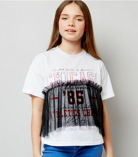 Teens White Chicago Print Gathered Mesh Overlay T-Shirt | New Look
