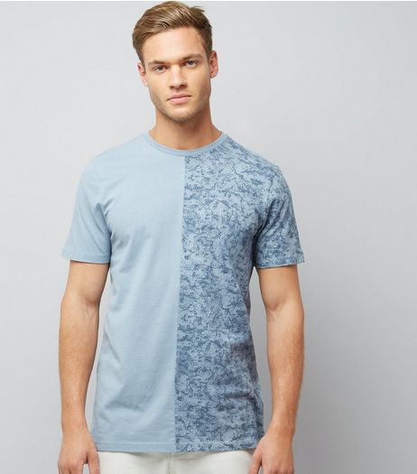 Pale Blue Tonal Spliced T-Shirt | New Look