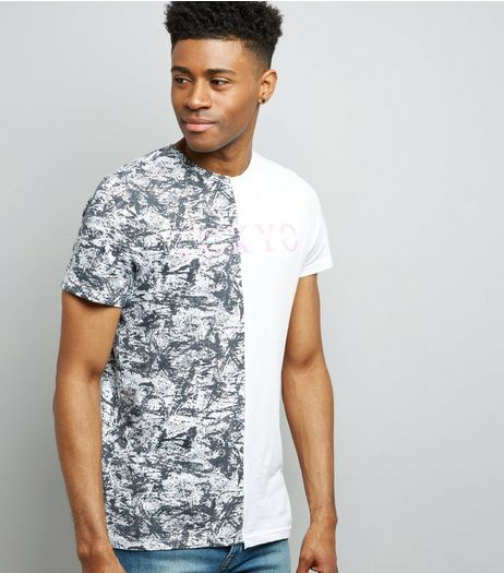 White Spliced Textured Tokyo Print T-Shirt  | New Look