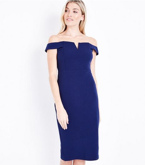 AX Paris Blue Bardot Neck Midi Dress   | New Look