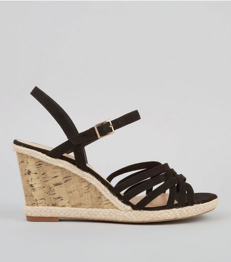 Wide Fit Black Strappy Cork Wedge Heeled Sandals | New Look