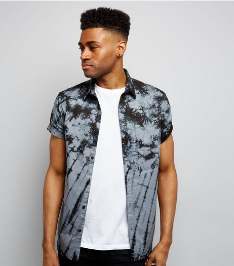 Black Tie Dye Short Sleeve Shirt | New Look