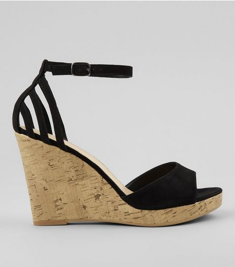 Wide Fit Black Strappy Back Wedge Sandals | New Look