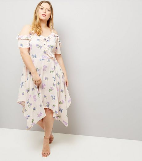 Curves Cream Floral Frill Trim Hanky Hem Dress | New Look