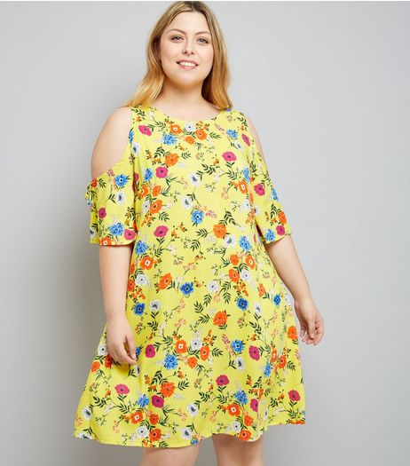 Curves Yellow Floral Print Cold Shoulder Tunic Dress | New Look
