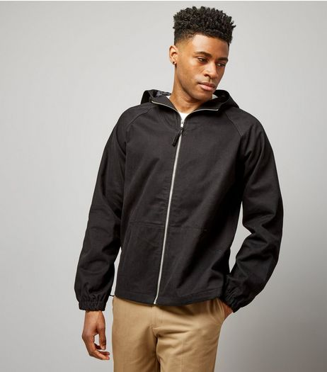 Black Zip Front Hooded Jacket | New Look