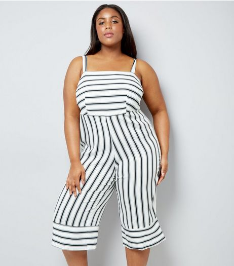 Curves Black Contrast Stripe Cropped Jumpsuit | New Look