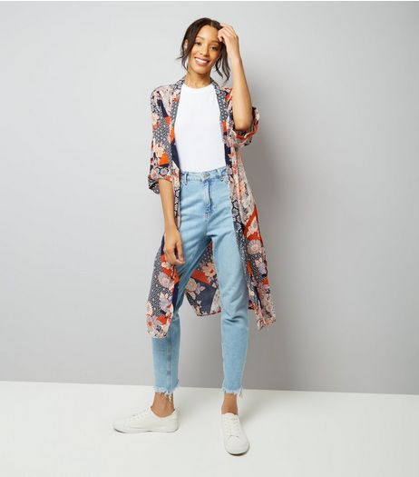 Blue Patchwork Floral Longline Kimono | New Look