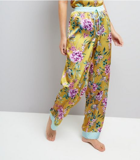 Yellow Floral Print Satin Pyjama Bottoms | New Look