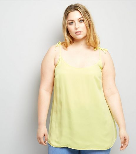 Curves Yellow Tie Strap Cami | New Look