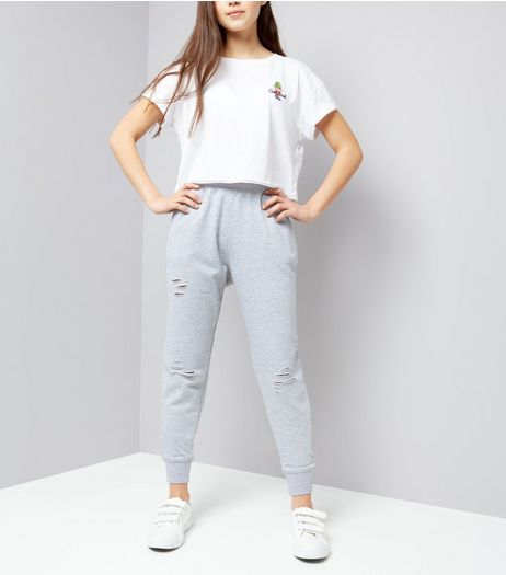 Teens Grey Ripped High Waist Joggers | New Look