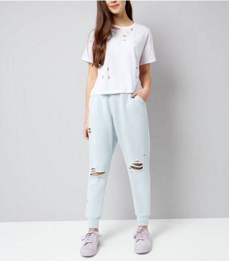 Teens Pale Blue Ripped High Waist Joggers | New Look