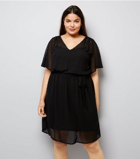 Curves Black Spot Chiffon V Neck Dress | New Look