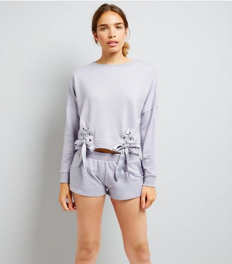 Lilac Lace Up Lounge Set | New Look