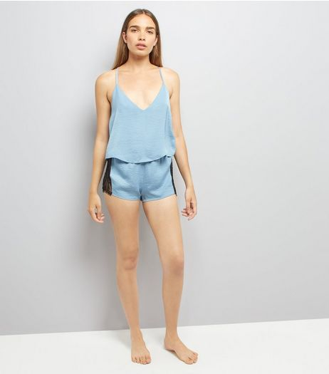 Pale Blue Lace Trim Cami And Shorts Pyjama Set  | New Look