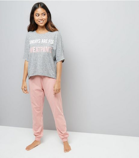 Petite Pink Sunday Slogan Pyjama Set  | New Look