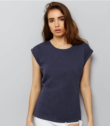 Navy Rolled Sleeve T-Shirt | New Look