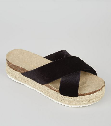 Black Velvet Cross Strap Flatform Sandals | New Look