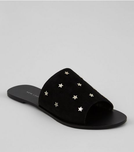 Black Suede Star Stud Mules | New Look