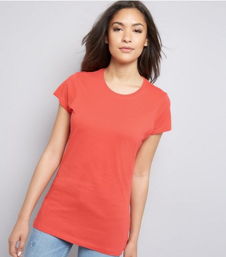 Coral Marl Cotton T-Shirt | New Look