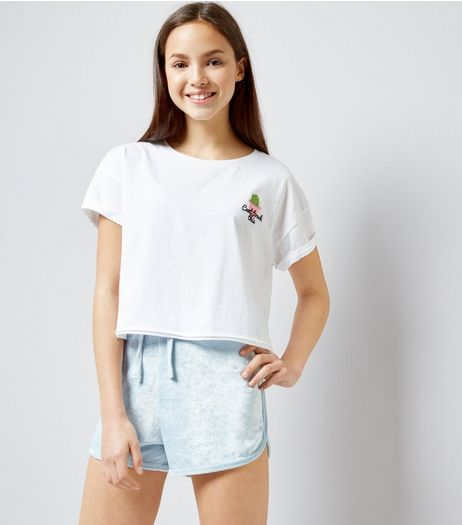 Teens Pale Blue Towelling Shorts | New Look