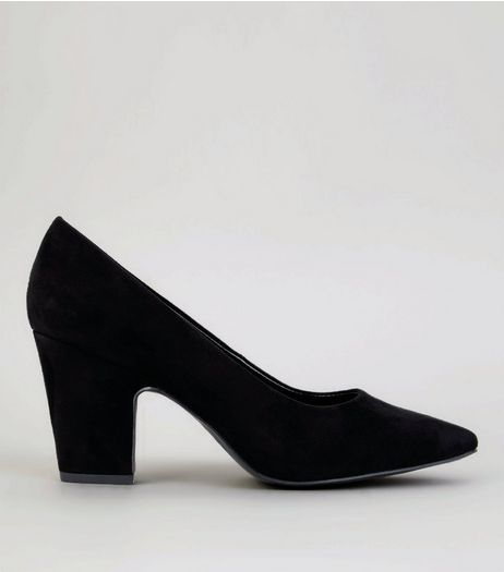 Black Suedette Block Court Heels  | New Look